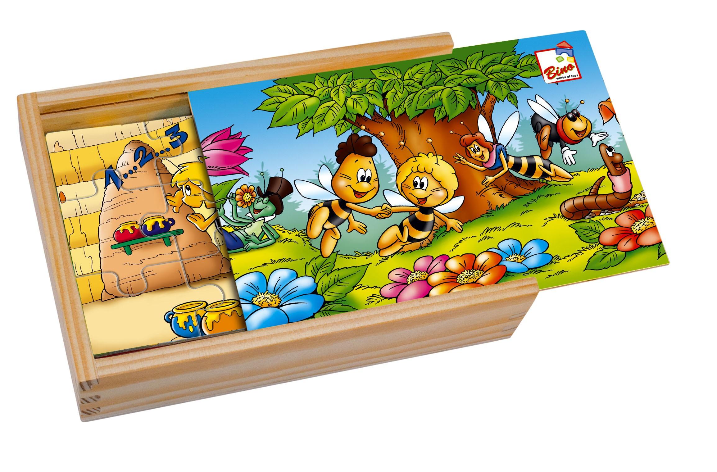 Včelka Mája-4 puzzle v dřevěné krabičc