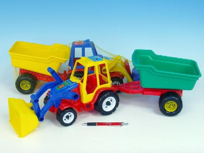 Traktor s vlekem a radlicí 64 cm
